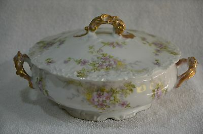 "Antique/Vintage Limoges France Elite 11"" Covered Serving Bowl w/ Purple Flowers"