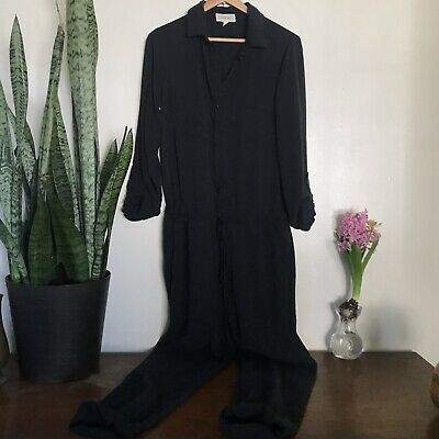 b50e6394ced4 Cloth   Stone Anthropologie  flawed Black Jumpsuit Button Down Size M Medium