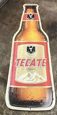 Tecate Imported Mexican Cerveza Beer - Tin Bar Sign Vintage Bottle Shaped 29 X9