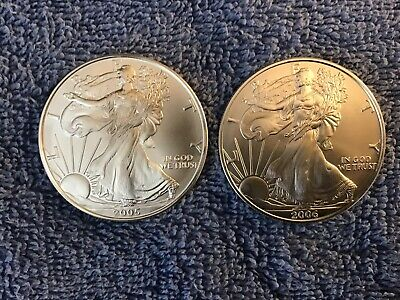 2005, 2006 Silver American Eagle- 1 oz. US $1 Uncirculated. 2 Coin Lot