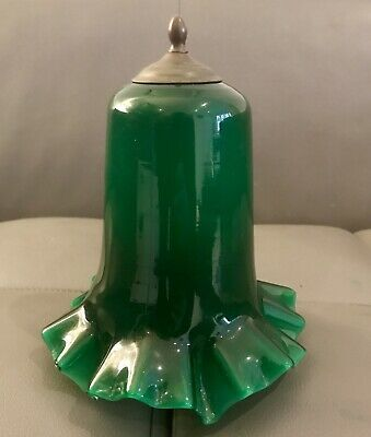 Large Early c20th Green Cased Glass Lamp Shade With Brass Gallery Attachment