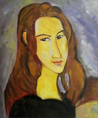 Modigliani Portrait of Jeanne Repro, Hand Painted Oil Painting, 9 1/8x10 3/4in