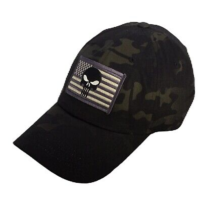 TACTICAL OPERATOR HAT with Punisher-US Flag Patch Hat Night MultiCam