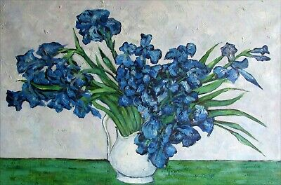 Van Gogh Vase of Irises Repro, Quality Hand Painted Oil Painting, 24x36in