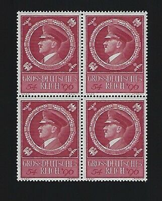 MNH Adolph Hitler stamp BLOCK / 1944 Birthday Third Reich issue / Nazi Germany