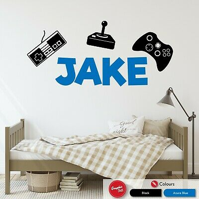 Personalised Name Wall Art Sticker Gaming Gamer Boys Girls Kids Bedroom Decal