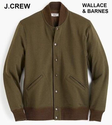 97263793be8d J.CREW Wallace   Barnes varsity jacket cotton olive green bomber nr S  relaxed XS
