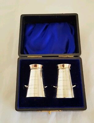 C19th Novelty Sterling silver Pepperettes Fashioned as Milk Churns.Chester 1898