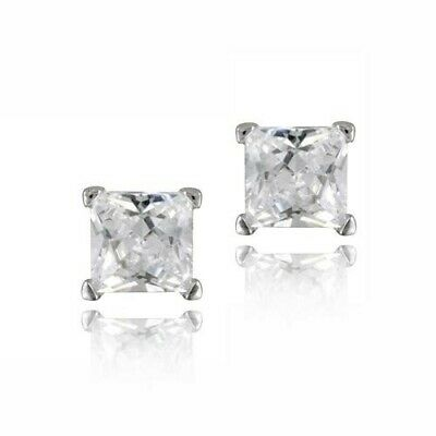 Silver Tone 3/4ct CZ Square Stud Earrings, 4mm
