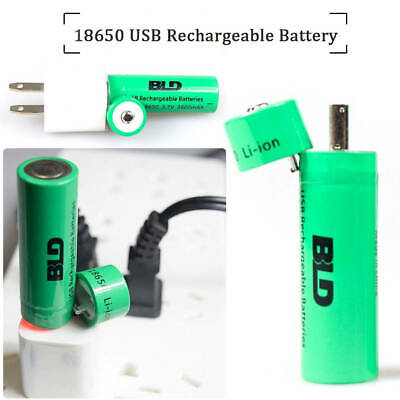 Charger 18650 Li-Ion Rechargeable Battery With USB Port 3800mah Torch