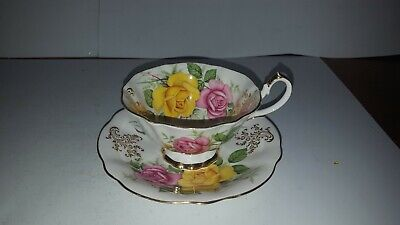 Vintage Queen Anne tea cup and saucer large yellow pink Cabbage Rose roses