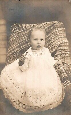 Vintage Infant Beautiful Eyelet Lace Christening Gown Sepia Real Photo Postcard
