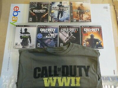 7 Call of Duty Collection PS3 Playstation 3 + T-Shirt WWII Black OPS WAR MW3