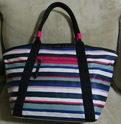 9b50a2719 NWT FOSSIL Large Stripe Blue Pink Black Canvas Satchel Shopper Laptop Tote  Bag