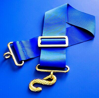 MASONIC BLUE LODGE Apron Belt with Gold Buckle Royal Blue Extension