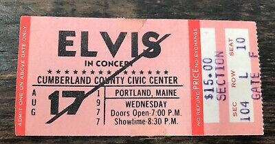 Original + Rare ELVIS PRESLEY Ticket for August 17th, 1977 Show Portland Maine