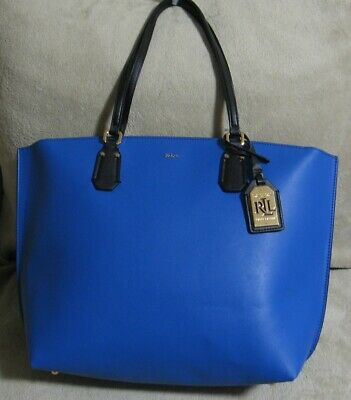 629395e25 NWT RALPH LAUREN Large Black & Blue Leather Satchel Shopper Laptop Tote Bag