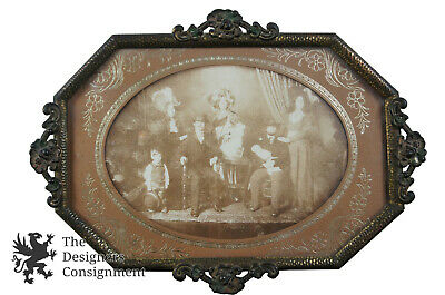 Early 20th Century Antique Hammered Metal Picture Frame Family Picture Floral