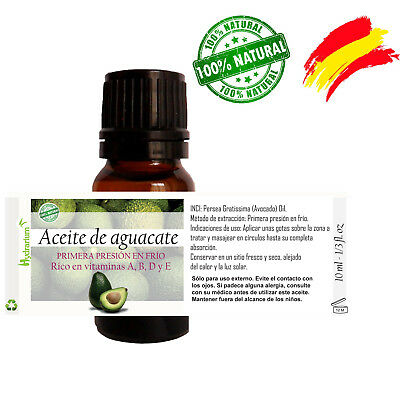 Aceite de aguacate virgen, orgánico  10 ml. Virgin Avocado Oil 10 ml organic