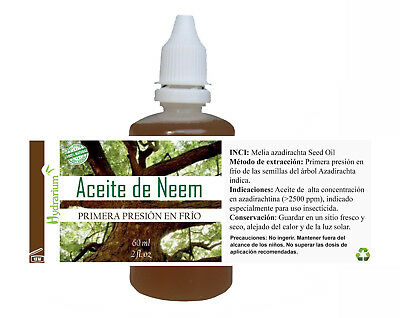 Aceite de Neem virgen, alta azadiractina 30 ml. Virgin Neem Oil 30 ml
