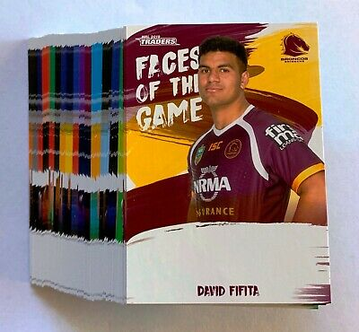 2019 Nrl Traders Faces Of The Game Trading Cards - Full Set 64 Cards