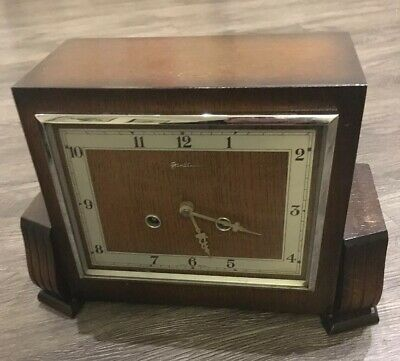 Vintage 30's Mahogany Cased Bentimo Art Deco Mantle Clock