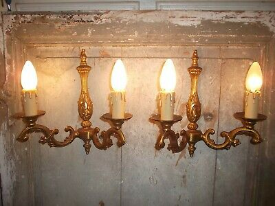 French a pair of  bronze wall light sconces gorgeous  vintage