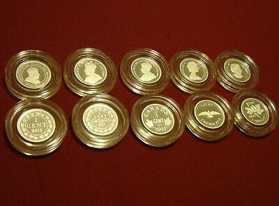2012 Farewell To The Penny: Fine Silver Proof - 1 Cent 5-Coin Set: No outer box!
