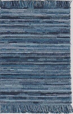 "Dollhouse Miniature Woven Accent Rug in Various Colors of Blue 9"" x 5 3/4"""