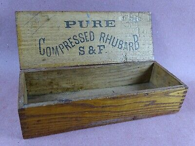"""Antique Oak Box With Hinged Lid - Stamped """"Pure Compressed Rhubarb S & F"""""""