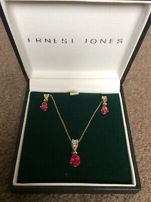 Ruby And Diamond 9ct Gold Necklace And Earring Set Ernest Jones
