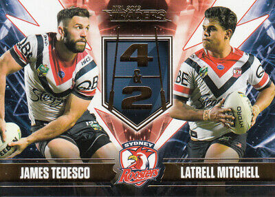 2019 Nrl Traders 4 & 2 Card - Ft7 Tedesco & Mitchell Roosters - #121 Of 220