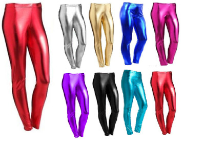 Girls Metallic Leggings Foil Wet Look Shiny Kids Children Costume Disco Party
