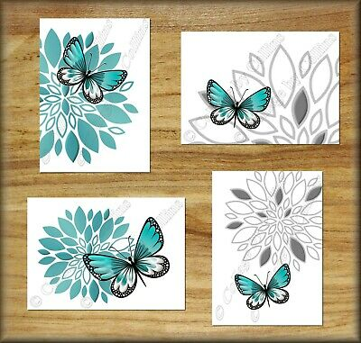 Butterfly Gray Teal Wall Art Picture Prints Bedroom Bathroom Home Decor Floral +
