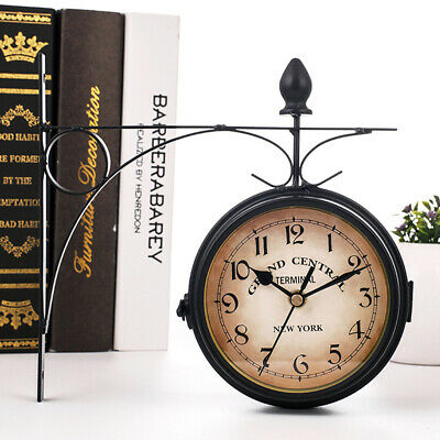 Outdoor Garden Paddington Wall Clock 20CM Double Sided Outside Bracket UK T7R6H