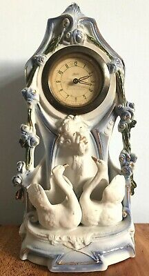 Vintage Kaiser Mantle Clock , With Swans . White With Blue /gold Detail