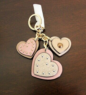 NWT COACH Studs Heart Bag Charm Key Chain Ring Cute Flower Metallic Pink F40696