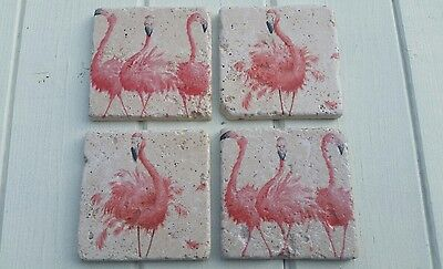 Whimsical Flamingo Stone Coasters