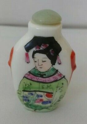 Beautiful hand painted Chinese snuff bottle Perfume with dynasty mark on bottom.