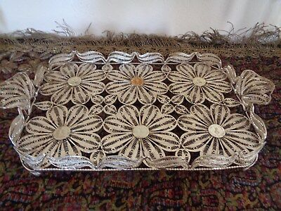 "Persian Iran Middle East Sterling  Silver .85 Malileh Design Plate Tray 17""x9"""