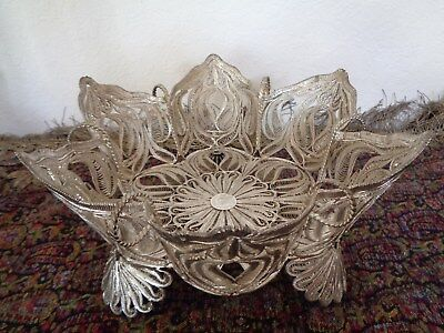 PERSIAN IRAN MIDDLE EAST ISLAMIC 1156gr STERLING SILVER 0.84 CENTER PIECE BOWL
