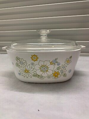 CORNING WARE 2 1/2 qt. . FLORAL BOUQUET CASSEROLE WITH LID --SUPERB CONDITION--