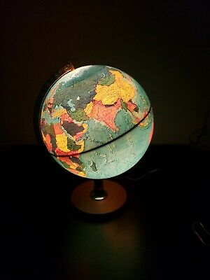 "Hammond 1972 Lighted Scan Globe  A/S 12"" on Wood Base"