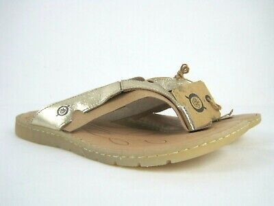 668e34be75fe BORN Amelie Women s Gold Leather Slide Thong Flip Flop Sandals Size 10 M NEW