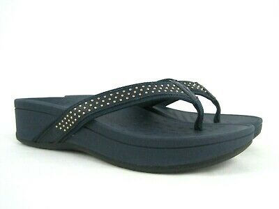 3c9f788c1742 VIONIC Kehoe Women s Blue Studded Thong Wedge Flip Flop Sandals Size 8 NEW