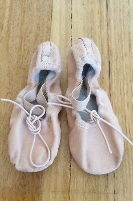Energetiks Child Pink Leather Full Sole Ballet Shoes Size 10.5 C