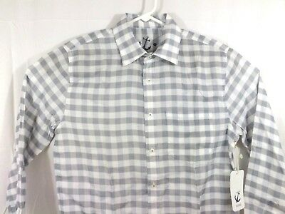 98656c41e3 Hiho Mens Linen Shirt Long Sleeve Island Beach Blue Gray Size Large Check  New