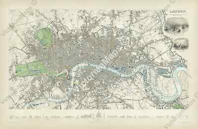 London map Victorian Society Diffusion of Useful Knowledge 1835 XL print poster