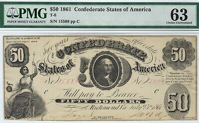 T-8 PF-7 $50 Confederate Paper Money 1861 - PMG Choice Uncirculated 63!