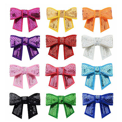 12pcs New Embroidered Sequin Bows Glitter Tie Hairpin Accessories Headbands LD